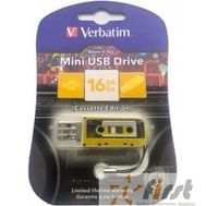 Verbatim USB Drive 16Gb Mini Cassette Edition Yellow 49399 {USB2.0}, фото 1
