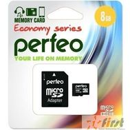Micro SecureDigital 8Gb Perfeo PF8GMCSH10AES {MicroSDHC Class 10, SD adapter}, фото 1