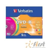 Verbatim  Диски DVD-R Verbatim 16-x (Color, Slim Case, 5 шт) (43557), фото 1
