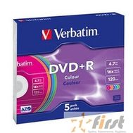 Verbatim  Диски  DVD+R 16х, 4.7Gb, Colour (Slim Case, 5шт.) (43556), фото 1