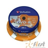 Verbatim  Диск DVD-R  4,7Gb 16x Cake Box Printable (25шт) (43538), фото 1