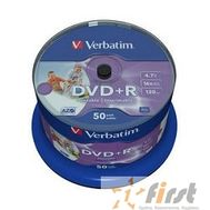 Verbatim  Диски DVD+R  4.7Gb 16-х, Wide Photo InkJet Printable,  50 шт, Cake Box (43512 ), фото 1