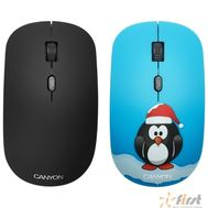 CANYON CND-CMSW401PG {wireless Optical  Mouse with 4 buttons, DPI 800/1200/1600, 1 additional cover(Penguin), black, 103*58*32mm, 0.087kg, 2.4GHz}, фото 1