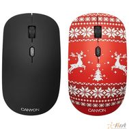 CANYON CND-CMSW401JR {wireless Optical  Mouse with 4 buttons, DPI 800/1200/1600, 1 additional cover(Jersey Red), black, 103*58*32mm, 0.087kg, 2.4GHz}, фото 1