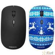 CANYON CND-CMSW401JB {wireless Optical  Mouse with 4 buttons, DPI 800/1200/1600, 1 additional cover(Jersey Blue), black, 103*58*32mm, 0.087kg, 2.4GHz}, фото 1
