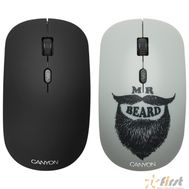 CANYON CND-CMSW401BD {wireless Optical  Mouse with 4 buttons, DPI 800/1200/1600, 1 additional cover(Beard), black, 103*58*32mm, 0.087kg, 2.4GHz}, фото 1